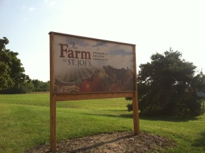 Our spiffy sign welcomes people to The Farm.