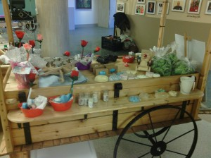 Eisenhower Center displays an array of typical essentials, crafts, and lettuce mix created by clients.