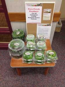 Display of the fresh produce, which were  offered free to patients  of Livingston Family Medicine Center