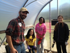 Farmer Dan, U of M intern Courtney with our young ladies from Mercy High School