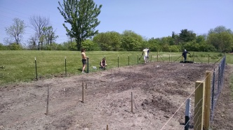 Adding the chicken coop fencing.
